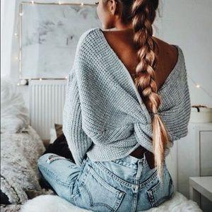 Cute gray twist back knit sweater